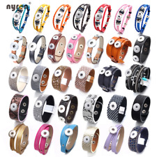 Wholesale Leather Snap Charms Bangle Bracelet 20mm Fit 18mm Snaps Snap Jewelry