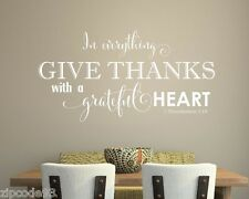 In everything Give Thanks  vinyl lettering wall decals art words family home