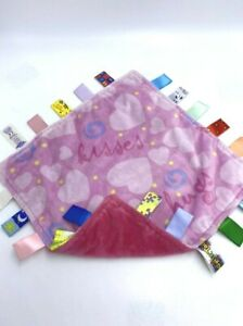 Taggies Love Hugs Kisses Pink Heart Swirl Dot Ribbon Tag Baby Security Blanket