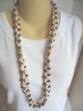 OLD VINTAGE MULTI COWRIE SHELL and SEED DOUBLE STRAND LONG CONTINUOUS NECKLACE