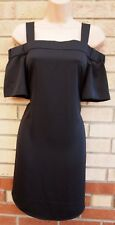 NEW LOOK  BLACK CUT OUT SHOULDER STRAPPY SMOCK SLIP TUNIC TEA RARE DRESS 8 S
