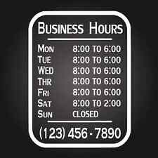 Custom Business Store Hours Vinyl Window Decal 9x12 Sticker Sign Glass Door