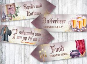 4 Magicians & Wizards Party School of Magic Decoration Arrow Signs