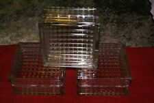 Vintage Single Reclaimed Architectural Glass Building Block -Ribbed Pattern.