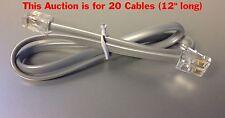 "FREE SHIP (20) 12"" 4P4C RJ22 RJ9 Cable Plantronics Headset Amp to Phone Pigtail"
