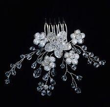 HAIR COMB Rhinestone Crystal Wedding Bridal Dancer French Twist Silver Pearl 06
