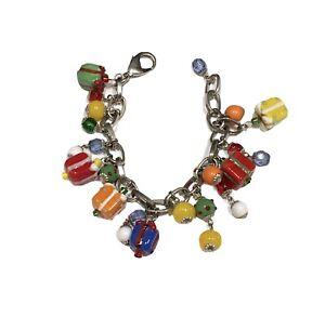 Christmas Birthday Charm Bracelet Beaded Lampwork Colorful Gift Presents Jewelry