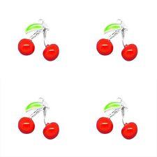 5 X Rosso Ciliegia 3d Argento Placcato Smalto Ciondolo Charms