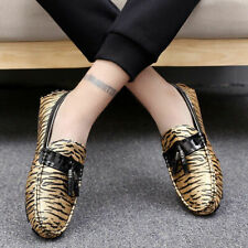 Men Suede Leather Shoes Slip On Leopard Driving Tassel Loafers Formal Shoe Chic