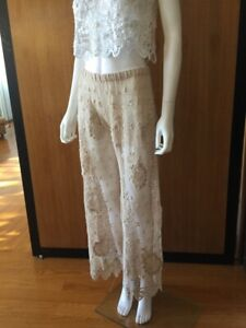 Lim's Vintage Gorgeous All Hand Crochet Cotton Pants Natural One Size Fits Most