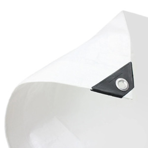 1 x White Tarpaulin Heavy Duty 200gsm 4.0m x 25.0m (13ft x 82ft)