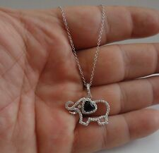 ELEPHANT NECKLACE PENDANT W/ DIAMOND & BLACK ONYX / 925 STERLING SILVER /18''