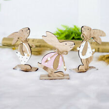 Easter Decorated Pendant Decorations Wooden Rabbit Shapes Ornaments Craft  Gifts