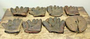 LOT OF 8 Vintage / Antique Baseball Gloves / Mitts