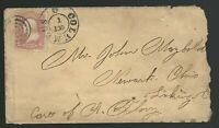 1860s Columbus, OH fancy cancel to Licking, Ohio Scott 65 with original photo