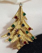 Vintage Crown Trifari Christmas Tree Rhinestone Holiday Festive Brooch Pin