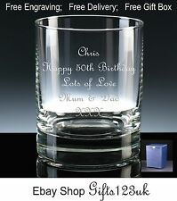 Personalised 12oz Whisky/ Spirit Glass 50th 52nd 54th 55th 56th 57th 58th 59th