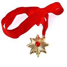 DRACULA VAMPIRE MEDALLION ON RED RIBBON HALLOWEEN FANCY DRESS ACCESSORY PARTY