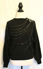 VINTAGE 1980s ~ Vivace Disco Black Lambswool Knit Jumper W Jet Beaded Design L