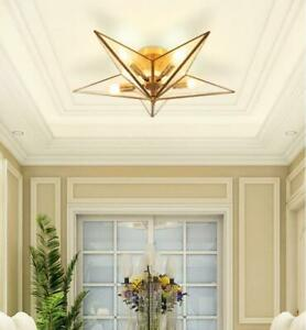 Modern Minimalist Star Shape Recessed Installation E14 Lamp Brass Ceiling Lamp