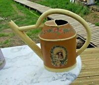 Ancien Arrosoir Zinc Lotus Jardin Potager Fleurs portrait 1920 Old watering can