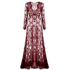 Women Elegant Floral Lace Boho Long Maxi Dress Evening Party Wedding Ball Gown