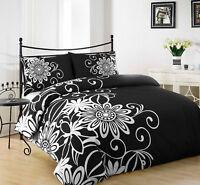 HELEN BLACK DUVET COVER WITH PILLOW CASE QUILT COVER BEDDING SET ALL SIZE