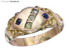 """Ring Antik """"Farbsteine"""" 375er Rotgold England"""