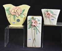 Set of TWO McCoy Pottery White Vases w/ Pink Flowers (Blossomtime?) EUC!