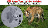2020 - South Korea Tiger 1 oz .999 Fine Silver Limited BU Round Medallion Coin
