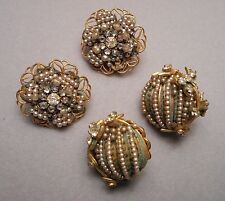 2 Pairs of 1950s Signed Miriam Haskell Earrings - Faux Seed Pearls Rhine - AS IS