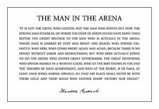 Theodore Teddy Roosevelt the Man in the Arena Quote 13x19 Poster (Black Text)