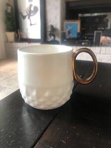 Starbucks Jewel white diamond emboss mug cup bronze copper gold handle 2013