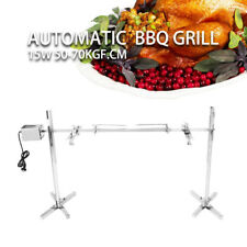 Large Stainless Steel Grill Rotisserie Spit Roaster Rod Charcoal Lambs BBQ