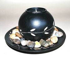 Tealight CANDLE HOLDER decorative black wood Christmas gift Table Decor