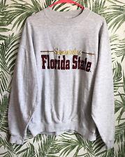 Vintage Florida State Seminoles FSU Crewneck Sweatshirt Mens L Gray Embroidered