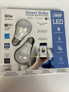 FEIT Electric Smart Wi-Fi LED Color Changing Dimmable 60W Light Bulbs O/B