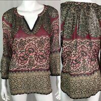 Bila Women's XL Burgundy Lace Pleated Beaded Peasant Tunic Top Boho Rayon Floral