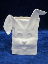 Ready to Paint Ceramic Bisque Bunny Bag, unpainted; U-paint