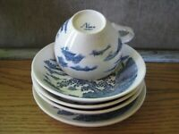 Nara Japan Flow Blue & White China Landscape Design Cup Bowls Plate Lot of 5