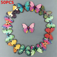 50PCS Mixed Bulk Butterfly Phantom Wooden Sewing Buttons Scrapbooking 2 Holes JT