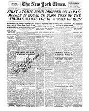 PAUL TIBBETS: Hiroshima Atom Bombing: NY Times P-1: Autographed