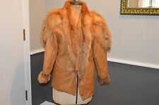 leather & red fox fur coat jacket vintage