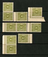 Japan Stamps 40 Yen VF OG NH Lot Of 10 Green Revenue Stamp