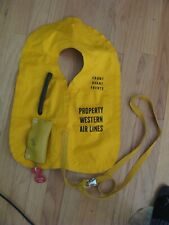 vintage 1970 WESTERN AIRLINES inflatable LIFE airplane aviation VEST JACKET