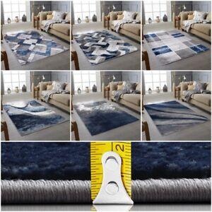 Navy Blue Grey Living Room Rugs Modern Small Extra Large Floor Carpets Mat Cheap