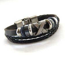 Urban Vintage style Genuine Black Leather  Bracelet & Antiqued Silver X Pendant