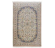 """Hand Knotted New Nain Wool Silk Ivory Blue Oriental Rug 3'10 x 6'8"""""""