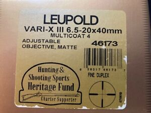 """Leupold VX-3 6.5-20x40mm Rifle Scope AO Matte 1"""" Fine Duplex."""