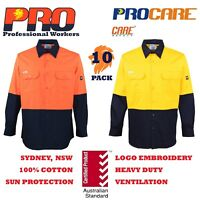 10 pack Hi Vis Work Shirt vented cotton drill long sleeve SafetyWORKWEAR UNIFORM